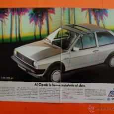 Carros e motociclos: PUBLICIDAD 1990 - COLECCION COCHES - VOLKSWAGEN - POLO CLASSIC BEL AIR DOBLE PAGINA. Lote 46946278