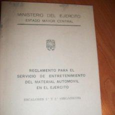 Coches y Motocicletas: REGLAMENTO PARA EL SERVICIO DE MANTENIMIENTO DEL MATERIAL AUTOMÓVIL EN EL EJERCITO. AÑO 1959. Lote 47104444