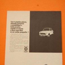 Coches y Motocicletas: PUBLICIDAD 1971 - COLECCION COCHES - BRITISH LEYLAND AUTHI - MINI 850. Lote 60826474
