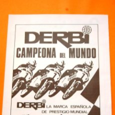 Coches y Motocicletas: PUBLICIDAD 1972 - COLECCION COCHES - MOTOS - DERBI - CAMPEONA DEL MUNDO. Lote 47389475