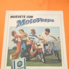 Coches y Motocicletas: PUBLICIDAD 1982 - COLECCION COCHES - MOTOS - MOTO VESPA VALE Y VESPINO. Lote 64402422