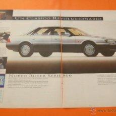 Coches y Motocicletas: PUBLICIDAD 1987 - COLECCION COCHES - AUSTIN ROVER - ROVER SERIE 800 DOBLE PAGINA. Lote 47364098