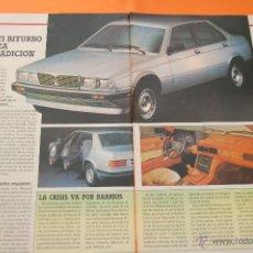 Coches y Motocicletas: ARTICULO 1985 - COLECCION COCHES - MASERATI - BITURBO - 2 PAGINAS. Lote 47364999