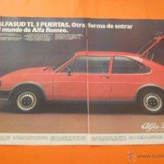 Coches y Motocicletas: PUBLICIDAD 1981 - COLECCION COCHES - ALFA ROMEO - ALFASUD TI 3 PUERTAS DOBLE PAGINA. Lote 47365676