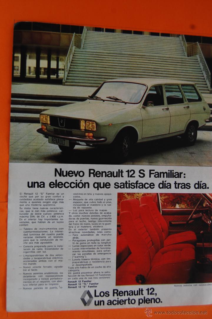 PUBLICIDAD 1975 - COLECCION COCHES - RENAULT - NUEVO RENAULT 12 FAMILIAR - TAMAÑO: 26 X 34 CM. (Coches y Motocicletas Antiguas y Clásicas - Catálogos, Publicidad y Libros de mecánica)