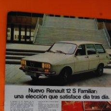 Coches y Motocicletas: PUBLICIDAD 1975 - COLECCION COCHES - RENAULT - NUEVO RENAULT 12 FAMILIAR - TAMAÑO: 26 X 34 CM.. Lote 47427599