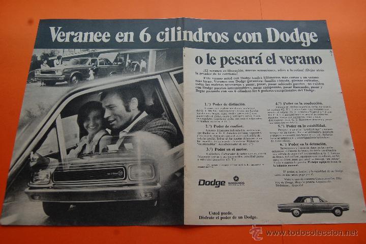 PUBLICIDAD 1970 - COLECCION COCHES - DODGE BARREIROS - DOBLE PAGINA SIN CORTAR - TAMAÑO 22 X 31 CM. (Coches y Motocicletas Antiguas y Clásicas - Catálogos, Publicidad y Libros de mecánica)