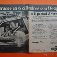 Coches y Motocicletas: PUBLICIDAD 1970 - COLECCION COCHES - DODGE BARREIROS - DOBLE PAGINA SIN CORTAR - TAMAÑO 22 X 31 CM. . Lote 47427996