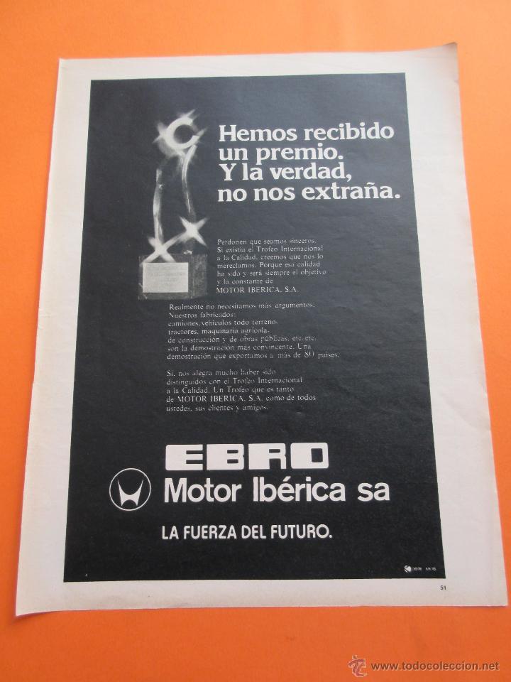 PUBLICIDAD 1975 - COLECCION COCHES - EBRO MOTOR IBERICA (Coches y Motocicletas Antiguas y Clásicas - Catálogos, Publicidad y Libros de mecánica)