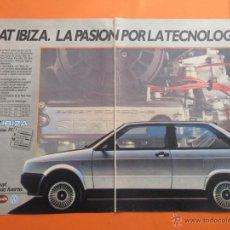 Coches y Motocicletas: PUBLICIDAD 1984 - COLECCION COCHES - SEAT IBIZA SYSTEM PORSCHE DOBLE PAGINA DESDE 625.000 PESETAS. Lote 47775794