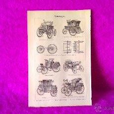 Coches y Motocicletas: GRABADO ORIGINAL, PRIMEROS COCHES DE LA ACTUAL MERCEDES BENZ, MUY RARO 1897. Lote 47850276
