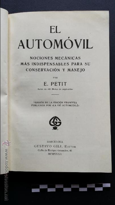 Coches y Motocicletas: El automóvil, editor Gustavo Gili de 1932. - Foto 4 - 47957298