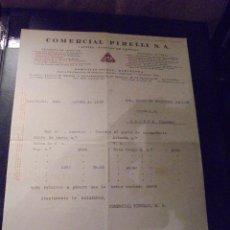Coches y Motocicletas: COMERCIAL PIRELLI S.A. FACTURA COMERCIAL 24 AGOSTO 1929 - 27X21 CM. . Lote 48332936