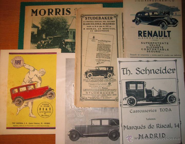 10 ANUNCIOS DE AUTOMÓVILES. L85 (Coches y Motocicletas Antiguas y Clásicas - Catálogos, Publicidad y Libros de mecánica)