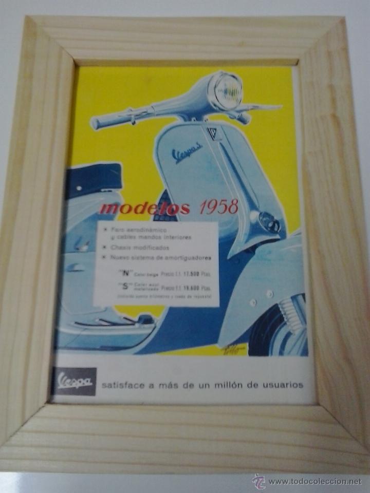 ANUNCIO ENMARCADO VESPA (Coches y Motocicletas Antiguas y Clásicas - Catálogos, Publicidad y Libros de mecánica)