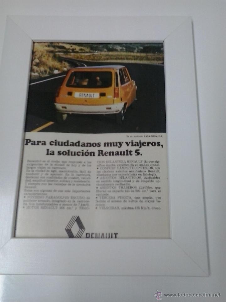 ANUNCIO ENMARCADO RENAULT 5 (Coches y Motocicletas Antiguas y Clásicas - Catálogos, Publicidad y Libros de mecánica)