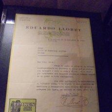 Coches y Motocicletas: AUTOMOVILES - EDUARDO LLORET COJINETES A RODILLO BARCELONA 1934 FACTURA COMERCIAL C.ARAGON 231 . Lote 48380004