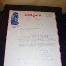 Coches y Motocicletas: AUTOMOVILES - NEUMATICOS COOPER - HERMANN HEBER ,C. VALENCIA 230 BARCELONA 1929 FACTURA COMERCIAL .. Lote 48413770