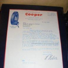 Coches y Motocicletas: AUTOMOVILES - NEUMATICOS COOPER - HERMANN HEBER ,C. VALENCIA 230 BARCELONA 1929 FACTURA COMERCIAL .. Lote 48420140