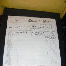 Coches y Motocicletas: AUTOMOVILES - EDUARDO WAHL NEUMATICOS PARA AUTOMOVILES BARCELONA 1926 C. DIAGONAL 307 FACTURA COMERC. Lote 48438805