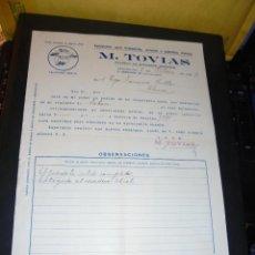 Coches y Motocicletas: AUTOMOVILES - M. TOVIAS SUMINISTROS AUTOMOVILES C. ENRIQUE GRANADOS 26 BARCELONA 1929 FACTURA COMERC. Lote 48453348