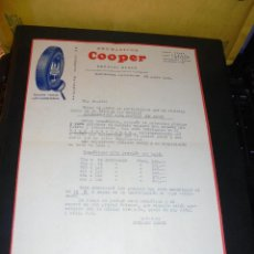 Coches y Motocicletas: AUTOMOVILES - NEUMATICOS COOPER - HERMANN HEBER ,C. VALENCIA 230 BARCELONA 1929 FACTURA COMERCIAL .. Lote 48453707