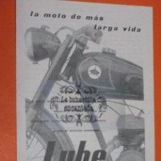 Coches y Motocicletas: PUBLICIDAD 1957 - COLECCION COCHES - MOTO LUBE. Lote 152422709