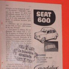 Coches y Motocicletas: PUBLICIDAD 1958 - COLECCION COCHES - SEAT 600. Lote 48471388