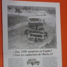 Coches y Motocicletas: PUBLICIDAD 1968 - COLECCION COCHES - AUTHI MORRIS 1100. Lote 48476542