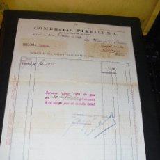 Coches y Motocicletas: AUTOMOVILES - COMERCIAL PIRELLI S.A. 1929 BARCELONA FACTURA COMERCIAL 27,5X22 CM. . Lote 48499002