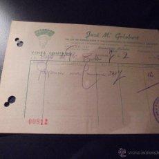 Coches y Motocicletas: AUTOMOVILES - NEUMATICOS MICHELIN BARCELONA 1942 FACTURA COMERCIAL JOSE Mª GOLOBART C. ARAGON 247 . Lote 48625923