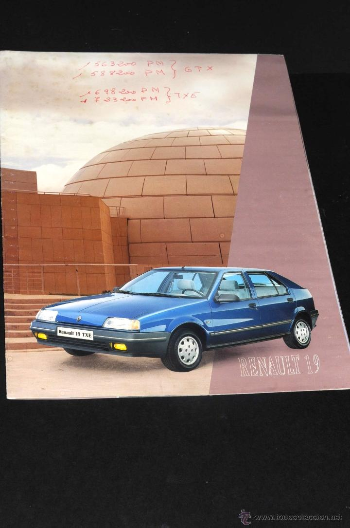 ANTIGUO CATALOGO DESPLEGABLE RENAULT 19 TXE AÑO 1988 (Coches y Motocicletas Antiguas y Clásicas - Catálogos, Publicidad y Libros de mecánica)
