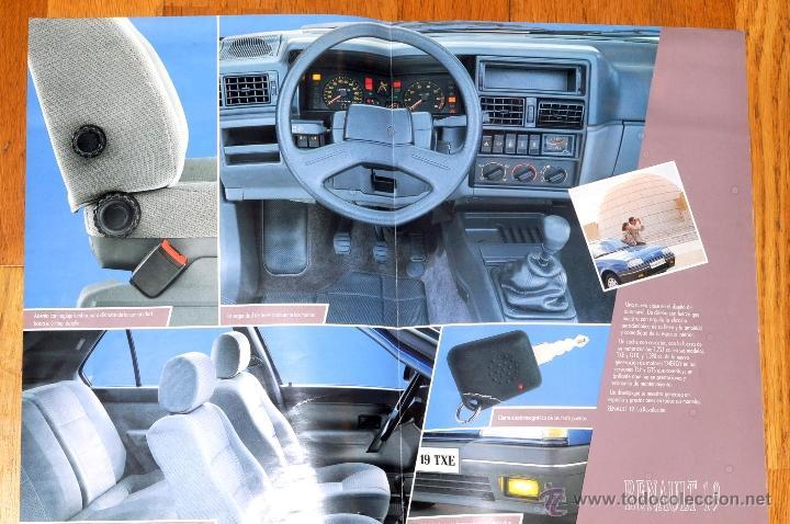 Coches y Motocicletas: ANTIGUO CATALOGO DESPLEGABLE RENAULT 19 TXE AÑO 1988 - Foto 4 - 48674377
