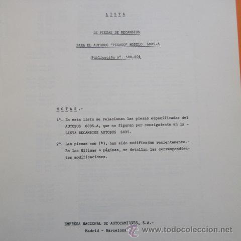 Coches y Motocicletas: LISTA DE PIEZAS DE RECAMBIO AUTOBUS PEGASO 6035A - - Foto 3 - 49141487