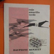 Coches y Motocicletas: PUBLICIDAD 1959 - COLECCION COCHES - RENAULT DAUPHINE CAMPEON RALLYE MONTECARLO. Lote 49144277