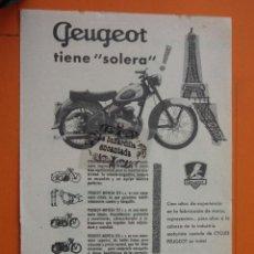 Coches y Motocicletas: PUBLICIDAD 1959 - COLECCION COCHES - MOTOS PEUGEOT. Lote 49144419