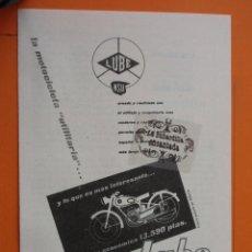 Coches y Motocicletas: PUBLICIDAD 1957 - COLECCION COCHES - MOTOS LUBE NSU LUCHANA VIZCAYA. Lote 49144476