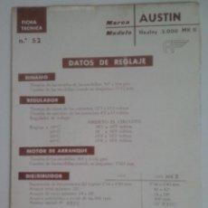 Coches y Motocicletas: -AUSTIN HEALEY 300 MKII-FICHA TECNICA ELECTRICA-DATOS DE REGLAJE -CODIGO DE COLORES - -CEAC. Lote 49236797