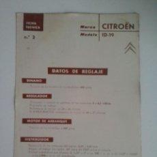 Coches y Motocicletas: -CITROEN ID-19-FICHA TECNICA ELECTRICA-DATOS DE REGLAJE -CODIGO DE COLORES - -CEAC. Lote 49236818
