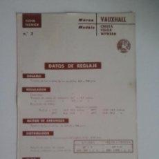 Coches y Motocicletas: VAUXHALL CRETA VELOX WYWERN-FICHA TECNICA ELECTRICA-DATOS DE REGLAJE -CODIGO DE COLORES - -CEAC. Lote 49236835