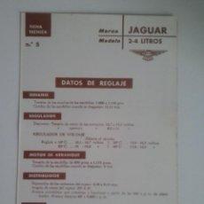 Coches y Motocicletas: -JAGUAR 2-4 LITROS -FICHA TECNICA ELECTRICA-DATOS DE REGLAJE -CODIGO DE COLORES - -CEAC. Lote 49236853