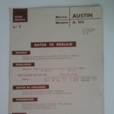 Coches y Motocicletas: AUSTIN A 105-FICHA TECNICA ELECTRICA-DATOS DE REGLAJE -CODIGO DE COLORES - -CEAC. Lote 49236868