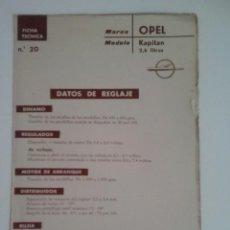 Coches y Motocicletas: OPEL KAPITAN 2.6 LITROS-FICHA TECNICA ELECTRICA-DATOS DE REGLAJE -CODIGO DE COLORES - -CEAC. Lote 49237034
