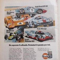 Coches y Motocicletas: PUBLICIDAD 1970 - COLECCION COCHES - GULF Y PORSCHE FORD BRABHAM MCLAREN. Lote 49380421