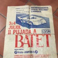 Coches y Motocicletas: ESPECTACULAR POSTER ORIGINAL II PUJADA A BATET 1982. ESCUDERIA OLOT COMPETICIÓ DIFICIL DE CONSEGUIR. Lote 49435078