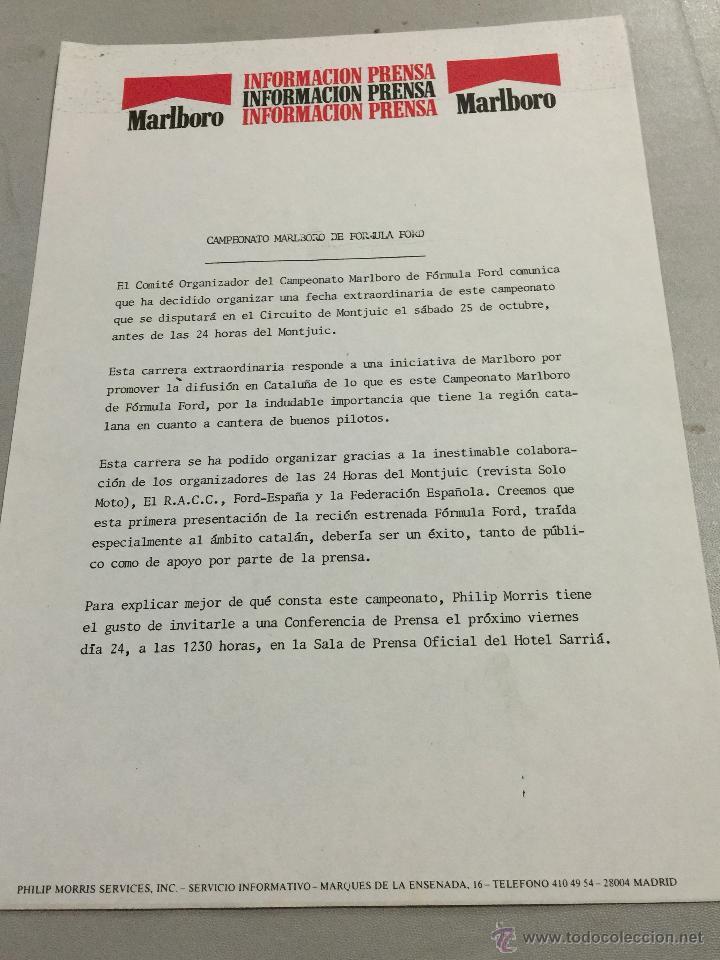 carta original informacion prensa marlboro - ca - Comprar Catálogos ...