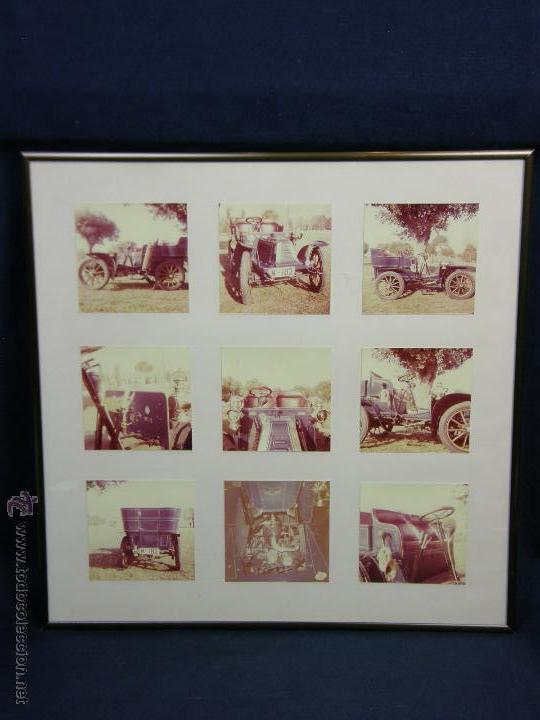 NUEVE FOTOS ENMARCADAS COCHE RENAULT TYPE G 8 HP MATRÍCULA M-182 AÑOS 60 34,5X34,5CMS (Coches y Motocicletas Antiguas y Clásicas - Catálogos, Publicidad y Libros de mecánica)