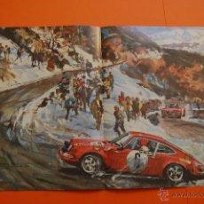 Coches y Motocicletas: LAMINA 1970 - PORSCHE 911 S WALDEGAARD MONTECARLO - FERRARI 512 S - 41 X 26,5 CM. Lote 49700106