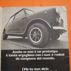Coches y Motocicletas: PUBLICIDAD 1970 - COLECCION COCHES - DUNLOP Y MINI - ANUNCIO DE ITALIA. Lote 49712603