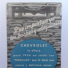 Coches y Motocicletas: CHEVROLET GENERAL MOTORS PENINSULAR COCHE CATALOGO AÑO 1934. Lote 49714974